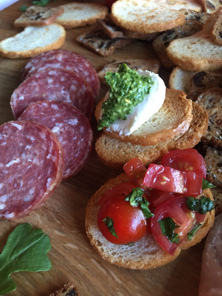Bruschetta Board Appetizer! Perfect for girls night | snacks | appetizers | Italian appetizer | Meat Board | Pesto | Bruschetta