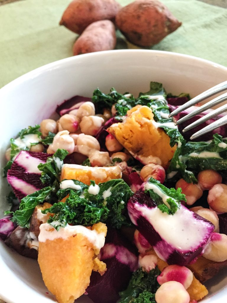 Sweet Potato, Beet and Chickpea Bowl with Tahini | Healthy Dinners | Vegetarian Meals | Meatless Monday | Gluten Free | Vegan |